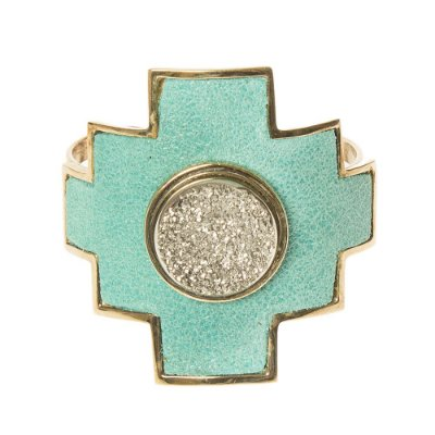 SM | Bracelete Metal e Couro Verde de Dourado