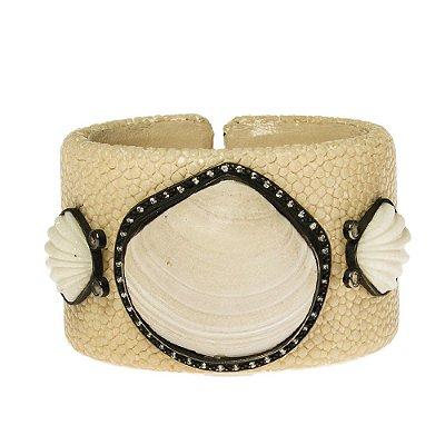 SM | Bracelete SM Galochat e Conchas Bege