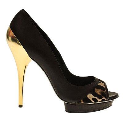 VERSACE | Scarpin Versace Peep Toe Couro Marrom