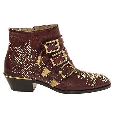 CHLOÉ | Ankle Boot Chloé Couro Vinho