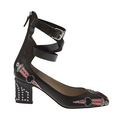 VALENTINO | Sapato Valentino Couro e Miçangas Preto