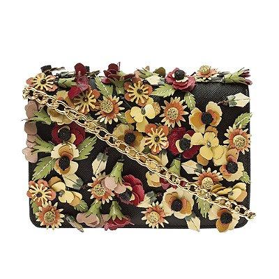 PRADA | Bolsa Prada Crossbody Couro e Flores Preta