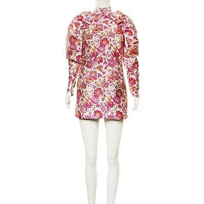 ROTATE | Vestido Rotate Poliéster Brocado Rosa