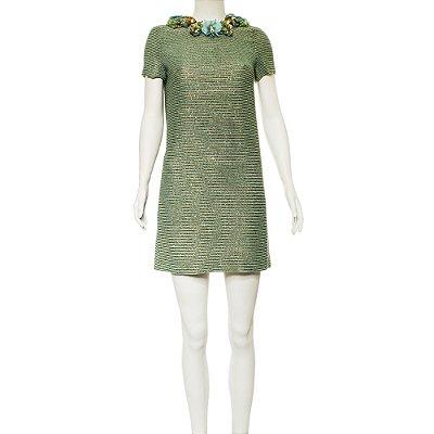 GUCCI | Vestido Gucci Miçangas Verde-Água