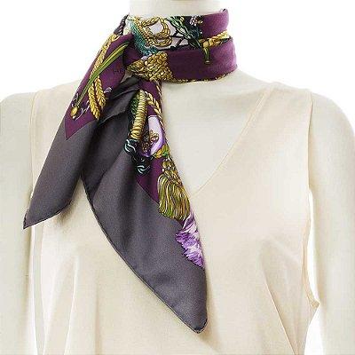 HERMÈS | Lenço Hermès Seda Roxo