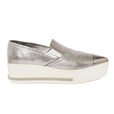 MIU MIU | Sapato Miu Miu Couro Cromado Prata