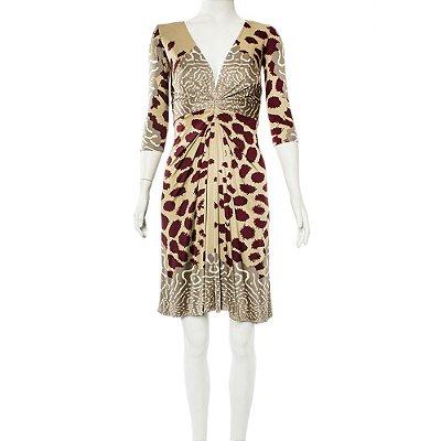 ISSA | Vestido Issa Viscose Estampado Bege e Vinho