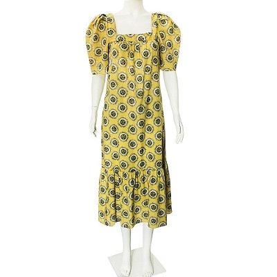 ADRIANA DEGREAS | Vestido Adriana Degreas Algodao Amarelo Estampado