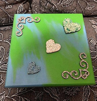 Caixa MDF pintada à mão - 3 Corações