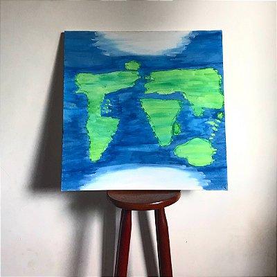 Quadro abstrato pintado à mão - Mapa Mundi