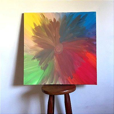 Quadro abstrato pintado à mão - Flor Arco-íris
