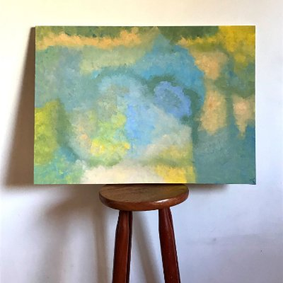 Quadro abstrato pintado à mão - Paraíso
