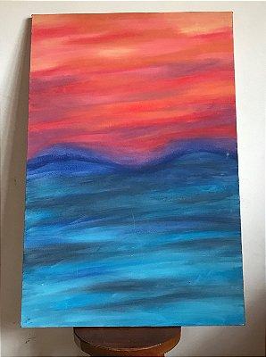 Quadro abstrato pintado à mão - Pôr do Sol
