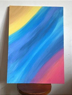 Quadro abstrato pintado à mão - Correnteza