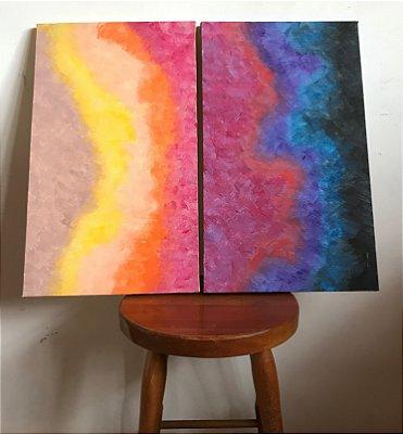 Quadro abstrato pintado à mão - Universo