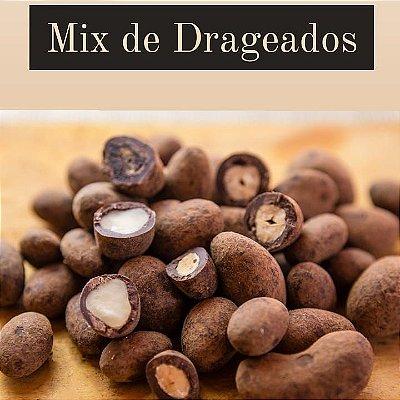 Mix de drageados 200 gr com chocolate 70% cacau – Castanhas de Caju e Pará, Amêndoas e Banana desidratada