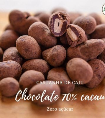 Drageados 200 gr– Castanha de caju com chocolate 70% cacau sem acucar