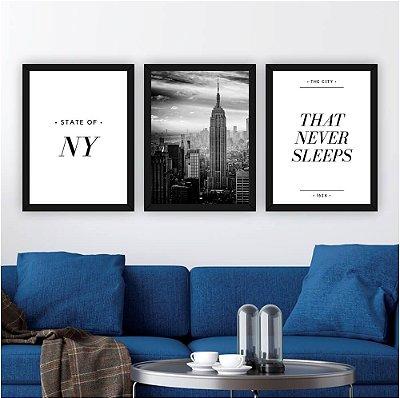 Conjunto de 3 Quadros Nova York