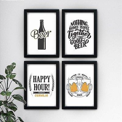 Conjunto de 4 Quadrinhos Cerveja Preto e Branco
