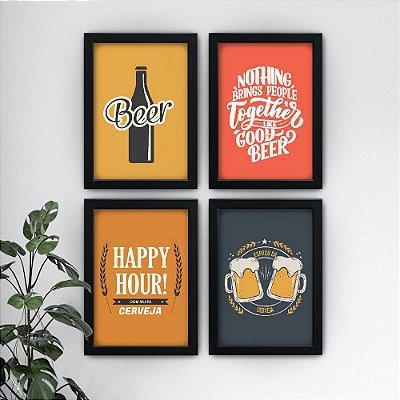 Conjunto de 4 Quadrinhos Cerveja