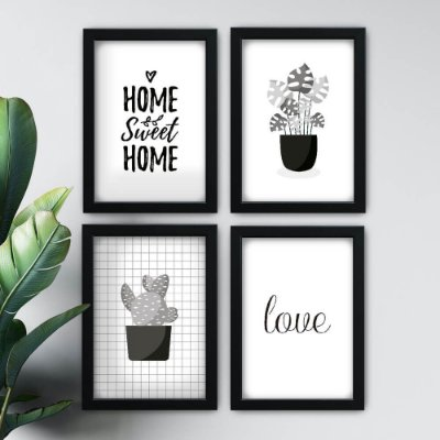 Conjunto de 4 Quadrinhos Home Sweet Home Preto e Branco