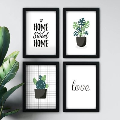 Conjunto de 4 Quadrinhos Home Sweet Home Colorido