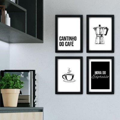 Conjunto de 4 Quadrinhos Cantinho do Café