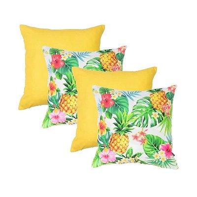 Capas de Almofadas Amarela Tropical