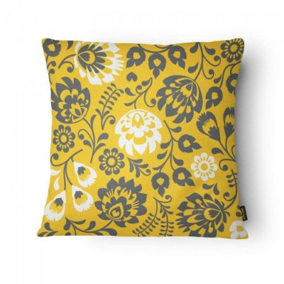 Almofada Amarela e Cinza Floral