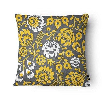 Almofada Cinza e Amarelo Floral