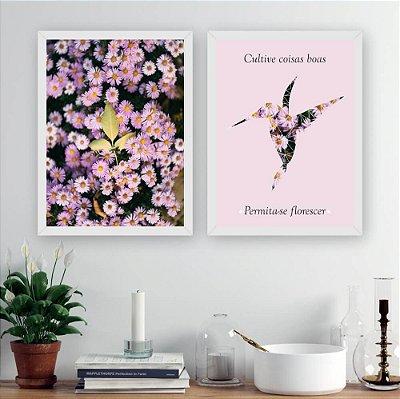 Kit Quadro Decorativo para Sala Beija-Flor