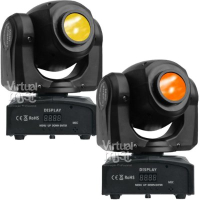 Kit 2 Moving Head Led Spot 20w Dmx Disco de Cores e Gobos