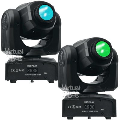 Kit 2 Moving Head Led Spot 30w Dmx Disco de Cores e Gobos