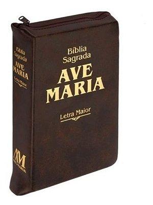 Bíblia letra maior com zíper marrom - 01.02223 - 615853