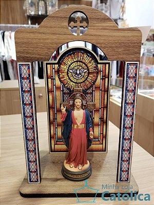 KIT Imagem Santas Chagas 15cm com Oratório de mesa estilizado - 109627