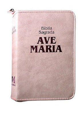 Bíblia Sagrada da Ave Maria (Capa Rosa com Zíper) - 425967