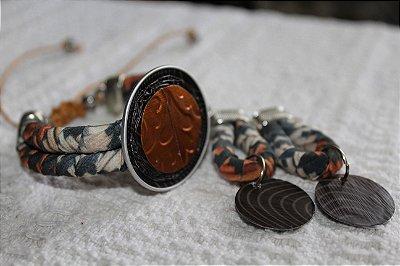 Conjunto pulseira e brinco Coleção Relevo
