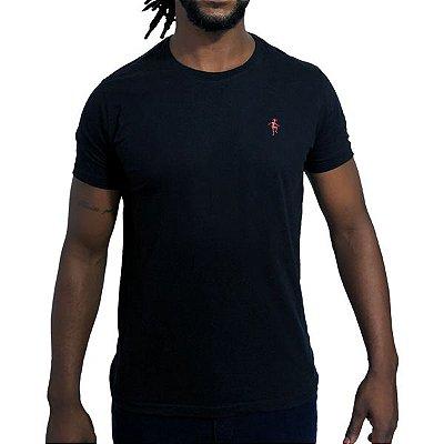 Camiseta Básica Preta Bordada
