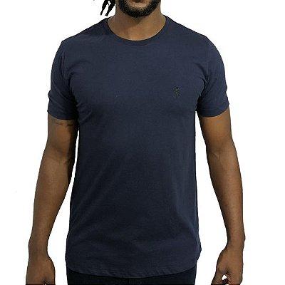 Camiseta Básica Marinho Bordada