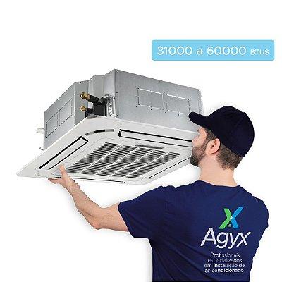 Instalação Ar-Condicionado Split Cassete 31000 a 60000 Btus - Só Frio/ Quente e Frio/ Inverter
