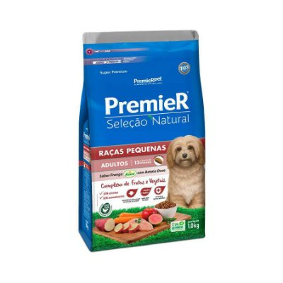 Ração Premier Seleção Natural para Cães Raças Pequenas Frango com Batata Doce 1kg