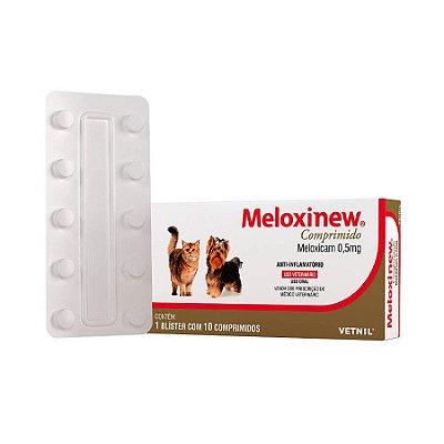 Anti-inflamatório Meloxinew 10 Comp para Cães e Gatos 0,50mg