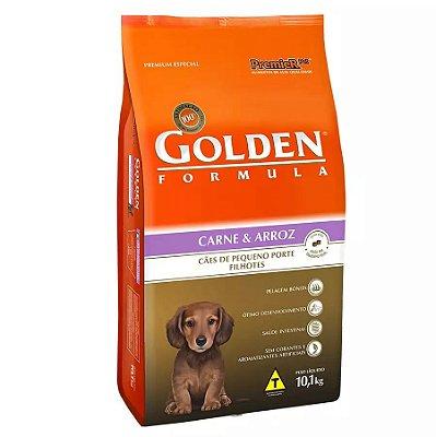 Ração Golden Fórmula Mini Bits Para Cães Filhotes Raças Pequenas Sabor Carne e Arroz 10kg