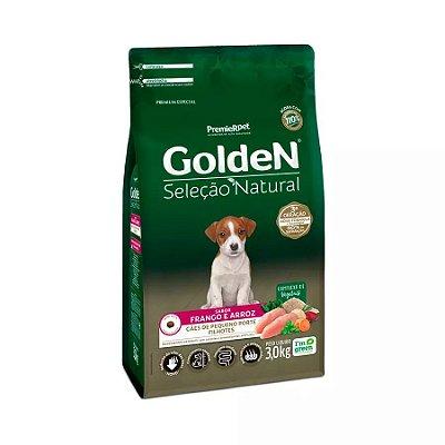 Ração Golden Seleção Natural para Cães Filhotes de Raças Pequenas Mini Bits Sabor Frango e Arroz 3kg