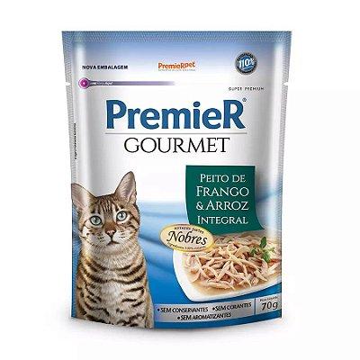 Ração Úmida Premier Gourmet Para Gatos Sabor Peito De Frango E Arroz Integral 70g