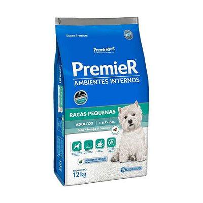 Ração Premier Ambientes Internos Para Cães Adultos Sabor Frango E Salmão 12kg