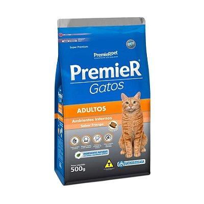 Ração Premier Ambientes Internos Para Gatos Adultos Sabor Frango 500g
