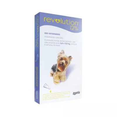 Antipulgas Revolution Zoetis 12% 0.25ml Para Cães 2,6kg A 5kg 3 Un