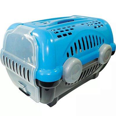 Caixa De Transporte Luxo Furacão Pet Para Cães E Gatos Azul Nº 3