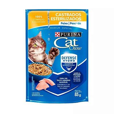 Ração Nestlé Purina Cat Chow Castrados Sachê Peixe Ao Molho 85g